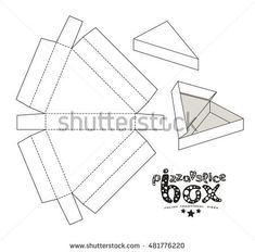 Stock vector box for pizza slice. Unwrapped and 3d image