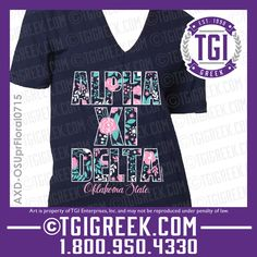 TGI Greek - Alpha Xi Delta - Floral Print - Greek T-shirt #tgigreek #alphaxidelta