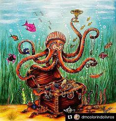 Show!@dmcolorindolivros  @arte_e_colorir ・・・ O polvo e o tesouro perdido.  TUTORIAL NO MEU CANAL: YouTube.com/dkpm1983  #mar #polvo #agua #oceano #lostocean #lostoceancolors #livrodecolorir #johannabasford #meucolorido #antiestresse  #amopintar #20likes #follow4follow #like4like #instalike #coloringbookbr #editorasextante #instadaily #followme  #instagood #colorfull #follow #webstagram #oceanoperdidodkpm  #instalove #instaDKPM #instapopular  Siga e compre materiais na @bancadomax