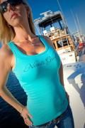 """""""NAUTI GIRL"""" WIDE STRAP TANK     Product Description:         We all know you're the nice girl on the dock but sometimes it okay to be the Nauti Girl, especially when you're on the boat!  This great fitting Tank top with slightly longer length also features the """"Reel Sassy"""" logo on the bottom left hem. 100% ring spun combed cotton.    $21.95    www.reelsassy.com"""