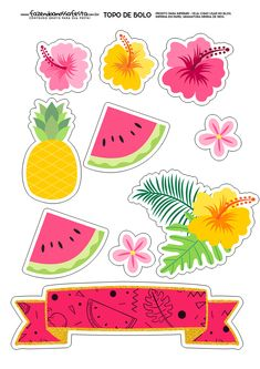 Tropical and Flamingo Themed Free Cake Template Flamingo Party, Flamingo Birthday, Printable Stickers, Cute Stickers, Planner Stickers, Hawaiian Party Decorations, Fruit Birthday, Tropical Party, Luau Party