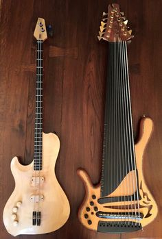 A two string bass and a twelve string bass.