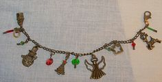 Christmas Antique Brass Charm Bracelet by Ricksiconics on Etsy, $15.00