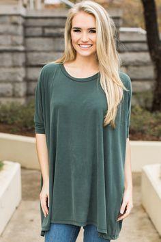 All Day Favorite Fir Green Top at reddressboutique.com