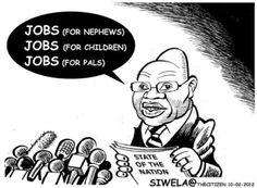 Themba SIWELA [The Citizen's cartoonist] takes a jaundiced view of President Zuma's focus on jobs in his recent State of the Nation address. Political Cartoons, Editorial, Fictional Characters, Fantasy Characters