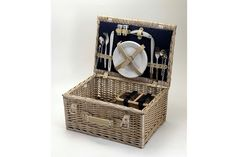 Sundowner Somersby 2 Piece Wicker Picnic Basket Lunch Outdoor Camping NEW