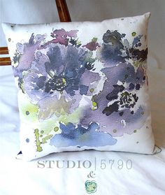 Throw Pillow purple flowers with blues greens and by Studio5790, $65.00