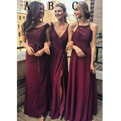 Burgundy Mismatched Charming Affordable Lace Long Bridesmaid Dresses, WG431