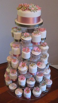 Cupcakes Wedding Cakes Pictures on Iced Magic Cakes Pink And Olive Green Mini And Cupcake Wedding Cake Huge Wedding Cakes, Diy Wedding Cake, Wedding Cakes With Cupcakes, Party Cakes, Wedding Ideas, Mini Cakes, Cupcake Cakes, Cup Cakes, Cupcake Tower Wedding