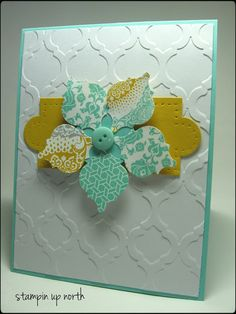Mosaic embossing folder,and punch,buttons,apothecary accents