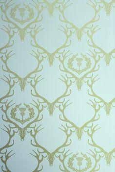 Deer Damask wallpaper, duck egg blue and antique gold