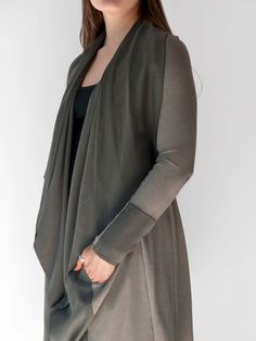 Striking knit and tencel gray/green sage Jacket. A modern, flattering style. Beautifully draped Tencel collar. Soft Ponte Roma knit moves with ease and comfort. Urban and sophisticated, yet fun. By Erin Draper.