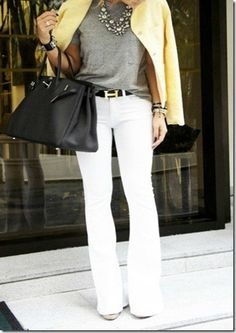 Love the necklace with this business casual outfit.  Wouldn't I love to look this chic on the weekends.