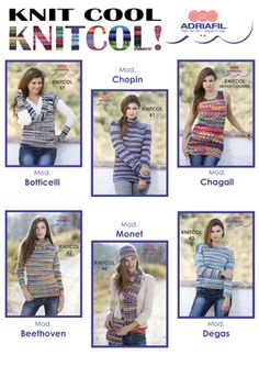 New beautiful #patterns for your #Knitcol #dreams! #Pullovers, #cardigans, #tops...for all tastes! Ask your #Adriafil trusted dealer!  Here's the shade card for Knitcol yarn: http://www.adriafil.com/uk/scheda-filato.html?id_cat=12&id_gr=3&id_filato=KN