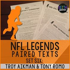 Your students will love reading these paired texts about two of the most famous players in NFL history!  This includes paired texts about these players' childhood, NFL career, and charity work.  Three quizzes, a writing prompt, and an answer key are included.