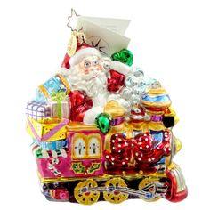 Christopher Radko TOYLAND EXPRESS Blown Glass Ornament Santa Train Christmas