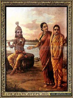 radha and krishna stories oil painting on canvas by raja ravi varma
