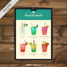 Cocktails list with clipboard Free Vector