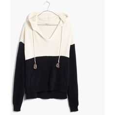 MADEWELL Colorblock Hoodie Sweater ($83) ❤ liked on Polyvore featuring tops, true black, block tops, black top, colorblock top, color block top and tassel top