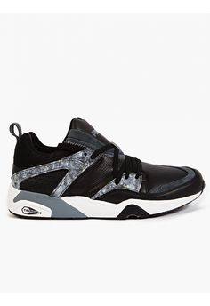 Men's Black Blaze of Glory Marble Trinomic Sneakers