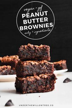 Vegan Peanut Butter Brownies (Gluten-Free) - Not only are these Peanut Butter Brownies fudgy, decadent, and tasty, they're also Vegan, Gluten- - Vegan Gluten Free Desserts, Vegan Dessert Recipes, Vegan Treats, Vegan Foods, Brownie Recipes, Baking Recipes, Delicious Desserts, Healthy Chocolate Desserts, Gf Brownie Recipe