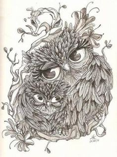 """Buhos y lechuzas dibujos Get my """"being a mommy"""" and owl tattoo in one. I'd get the mother owl's head straight and add another baby.since I have Bella & Nolyn.I'd do it in color too thou. It could be pretty cool. Et Tattoo, Tattoo Owl, Owl Always Love You, Owl Art, Baby Owls, Adult Coloring Pages, Tatting, Art Drawings, Drawing Owls"""