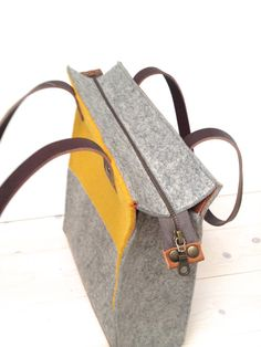 FELT TOTE BAG Felt shoulder bag Laptop tote bag Gift for her felt shopping bag Wool felt bag Monogrammed tote Leather handle tote Accessories Laptop Tote Bag, Messenger Bags, Felt Purse, Yellow Leather, Grey Leather, Leather Bags, Vintage Leather, Monogram Tote, Shopper Bag
