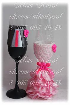 Wedding toasting glasses in bride and groom costumes by AlisaKarol