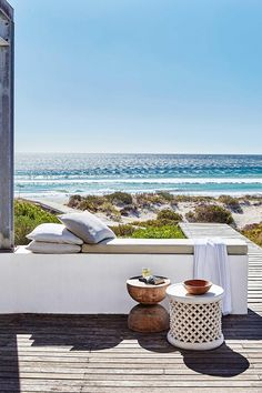Coastal style: ideas from a Cape Town beach house. Photography by Greg Cox. Production by Sven Alberding. Coastal Homes, Coastal Living, Coastal Style, Coastal Decor, Outdoor Spaces, Outdoor Living, Outdoor Decor, Parasols, Beach Bungalows
