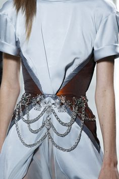 Gorgeous pale blue Rodarte SS13 dress with peplum accented by Swarovski Elements. Photography by Dan Lecca.
