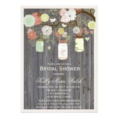 #shower - #Country Rustic Mason Jar Bridal Shower Invites