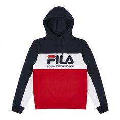 Gosha Rubchinskiy DSM Exclusive Fila Hoodie (Navy/White/Red) ($135) ❤ liked on Polyvore featuring tops, hoodies, white hoodies, white top, hooded pullover, hooded sweatshirt and navy blue top