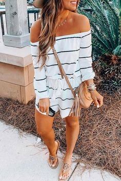 Balanla Off Shoulder Striped Drawstring One-piece Romper Lovely Jumpsuit Pure Color Strapless Sleeveless Tee Length Jumpsuit Cute Summer Outfits, Classy Outfits, Spring Outfits, Trendy Outfits, Cute Outfits, Fashion Outfits, Work Outfits, Striped Outfits, Dinner Outfits