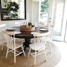 Exciting Modern Farmhouse Dining Room Decor Ideas – Home Decor Ideas White Kitchen Chairs, White Dining Chairs, Dining Room Chairs, Dining Room Furniture, Windsor Chairs, Dining Area, Small Dining, Patio Dining, Plywood Furniture