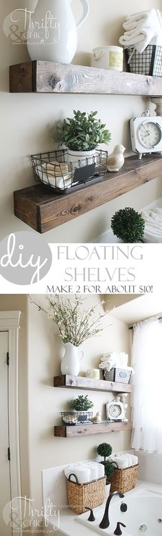 Great Your Farmhouse home decor is going to absolutely LOVE these gorgeous Farmhouse DIY Floating Shelves created by Alicia over at Thrifty and Chic. Now get this…she made both of these shelv ..