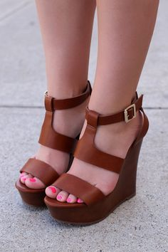Strappy Tan Wedges   UOIonline.com: Women's Clothing Boutique