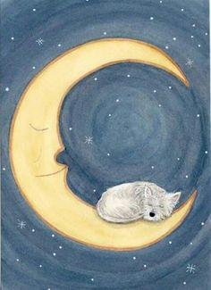 Westie in the moon