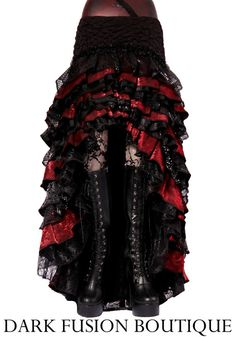 Ruffle Skirt, Black and Dark Red, Cabaret, Vaudeville, Steampunk, Vampire, Noir, Gothic, Tribal, Victorian, Belly Dance