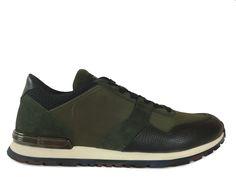Sneakers Tod's - Todrun Access en nubuck, cuir imprimé et toile noir et kaki