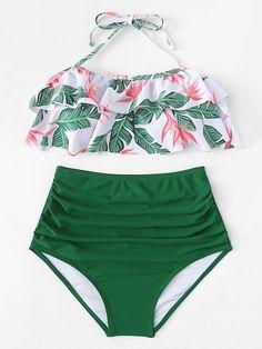 Jungle Print Halter Ruffle Top With High Waist Bikini -SheIn(Sheinside) - fashion - Trendy Swimwear, Cute Swimsuits, Cute Bikinis, Bikini Swimwear, Halter Bikini, High Waist Bikini, Women's Bikinis, Flounce Bikini, Summer Bikinis