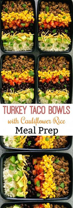 Turkey Taco Bowls with Cauliflower Rice Meal Prep. Low carb, easy and fla. Skinny Turkey Taco Bowls with Cauliflower Rice Meal Prep. Low carb, easy and fla. Skinny Turkey Taco Bowls with Cauliflower Rice Meal Prep. Low carb, easy and fla. Clean Eating Recipes For Dinner, Clean Eating Snacks, Healthy Eating, Healthy Snacks, Dinner Recipes, Keto Recipes, Paleo Dinner, Vegetarian Recipes, Eating Habits