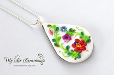 Polymer clay folk pendant necklace fimo clay porcelain