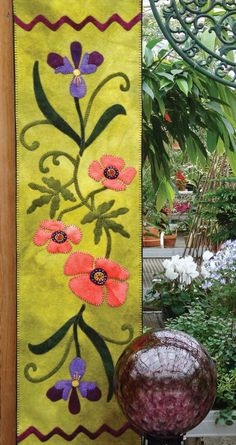 Poppies and Iris Table Runner, executed entirely in wool.