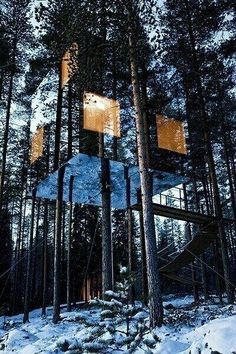 mirrored house in Sweden --- it'd be fun to recreate this as a child's tree house, teen's hide-a-way, and then a parent's get-a-way/hunting shack