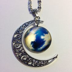 Silver Moon Necklace Blue Moon Cabochon With by CraftyClaireabelle
