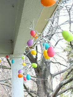 Add some colored mini lights to a stinger of plastic eggs and you ve got a one of a kind decoration. I recommend lights from Christmas Lights Etc as they will last you for years and years.