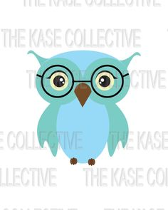 Wise Blue Owl Nursery Art For Children and by TheKaseCollective