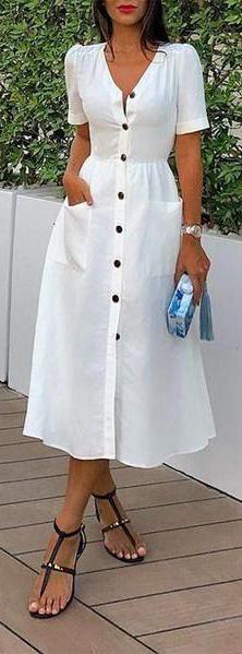 May 2020 - white v neck fashion short sleeve summer long dress Wedding Dress Black, Lace Wedding, White Dress Summer, Summer Dresses For Women, Long White Casual Dress, Dress Outfits, Casual Dresses, Fashion Dresses, White V Necks