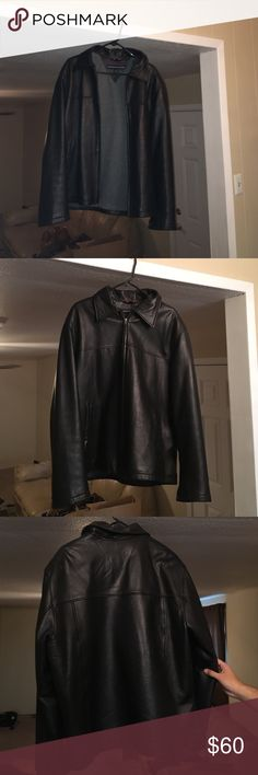 Tommy Hilfiger Men's Leather Jacket Tommy Hilfiger Men's Black Leather jacket, size  large. Zip up. Inside is lined. One pocket inside. In excellent condition. Tommy Hilfiger Jackets & Coats