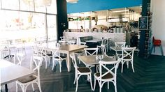 We can't get enough of Granata's Pemulwuy! Its welcoming charm is unmistakably Italian. Beautiful French Cross Back Chairs make the space feel clean and modern. Cast iron Bistro Table Bases and silver Resin Table Tops complement the cafe's warm, relaxed atmosphere. Head down to enjoy the food and the decor!